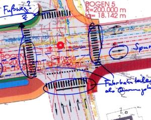 Straßenplan Skizze mit Anmerkungen